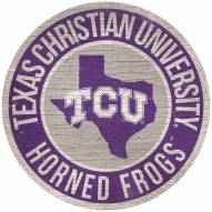 "Texas Christian Horned Frogs 12"" Circle with State Sign"