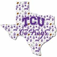 "Texas Christian Horned Frogs 12"" Floral State Sign"