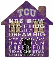 "Texas Christian Horned Frogs 12"" House Sign"
