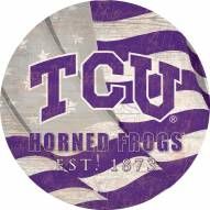 "Texas Christian Horned Frogs 12"" Team Color Flag Circle Sign"