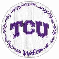 "Texas Christian Horned Frogs 12"" Welcome Circle Sign"