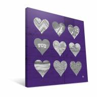 """Texas Christian Horned Frogs 12"""" x 12"""" Hearts Canvas Print"""