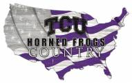 "Texas Christian Horned Frogs 15"" USA Flag Cutout Sign"