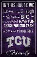 "Texas Christian Horned Frogs 17"" x 26"" In This House Sign"