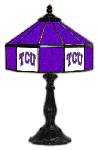"""Texas Christian Horned Frogs 21"""" Glass Table Lamp"""