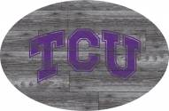 "Texas Christian Horned Frogs 46"" Distressed Wood Oval Sign"
