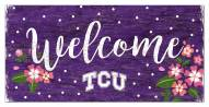 "Texas Christian Horned Frogs 6"" x 12"" Floral Welcome Sign"