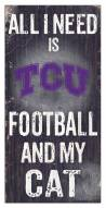 "Texas Christian Horned Frogs 6"" x 12"" Football & My Cat Sign"
