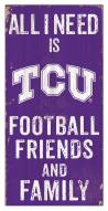 "Texas Christian Horned Frogs 6"" x 12"" Friends & Family Sign"