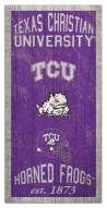 "Texas Christian Horned Frogs 6"" x 12"" Heritage Sign"