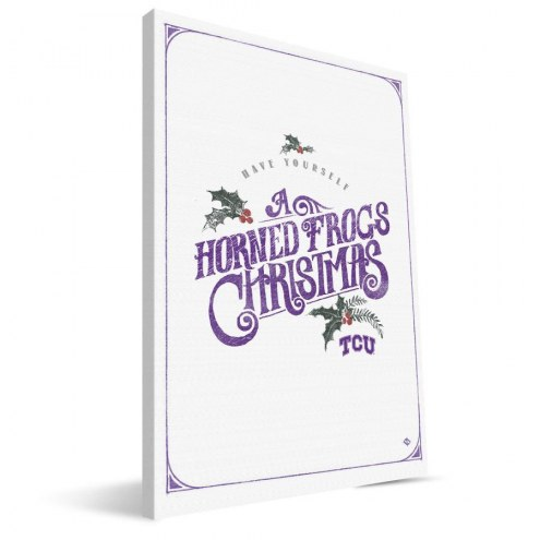 """Texas Christian Horned Frogs 8"""" x 12"""" Merry Little Christmas Canvas Print"""