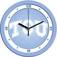 Texas Christian Horned Frogs Baby Blue Wall Clock