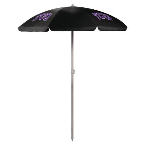 Texas Christian Horned Frogs Beach Umbrella
