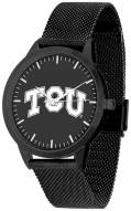 Texas Christian Horned Frogs Black Dial Mesh Statement Watch