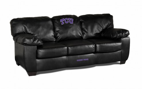 Texas Christian Horned Frogs Black Leather Classic Sofa