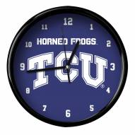 Texas Christian Horned Frogs Black Rim Clock