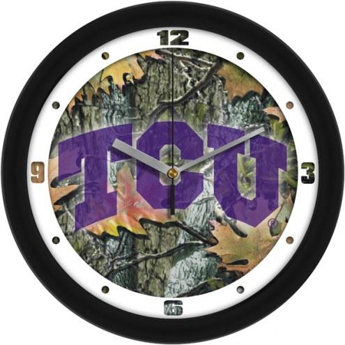Texas Christian Horned Frogs Camo Wall Clock