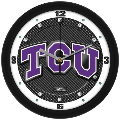 Texas Christian Horned Frogs Carbon Fiber Wall Clock