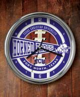 Texas Christian Horned Frogs Chrome Wall Clock