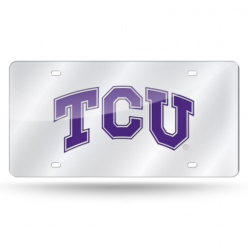 Texas Christian Horned Frogs College Silver Laser License Plate