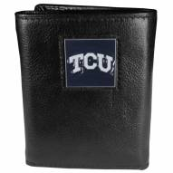 Texas Christian Horned Frogs Deluxe Leather Tri-fold Wallet in Gift Box