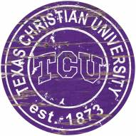 Texas Christian Horned Frogs Distressed Round Sign