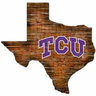 Texas Christian Horned Frogs Distressed State with Logo Sign
