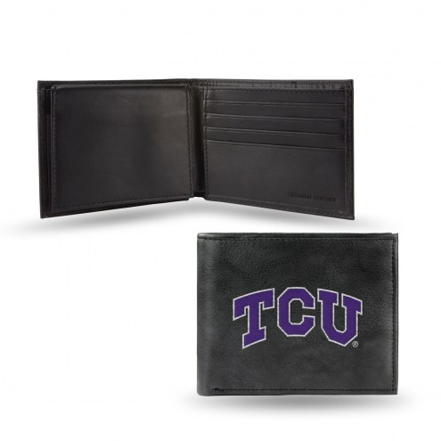 Texas Christian Horned Frogs Embroidered Leather Billfold Wallet