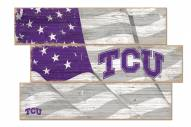 Texas Christian Horned Frogs Flag 3 Plank Sign