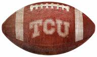 Texas Christian Horned Frogs Football Shaped Sign