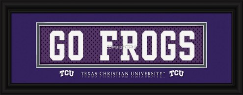 """Texas Christian Horned Frogs """"Go Frogs"""" Stitched Jersey Framed Print"""