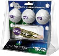 Texas Christian Horned Frogs Gold Crosshair Divot Tool & 3 Golf Ball Gift Pack