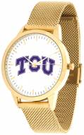 Texas Christian Horned Frogs Gold Mesh Statement Watch