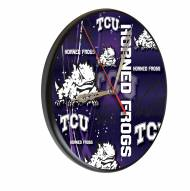 Texas Christian Horned Frogs Digitally Printed Wood Clock