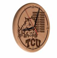 Texas Christian Horned Frogs Laser Engraved Wood Clock