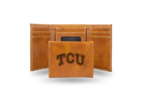 Texas Christian Horned Frogs Laser Engraved Brown Trifold Wallet