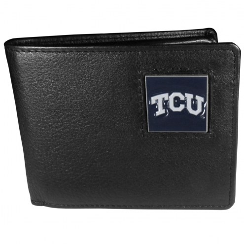 Texas Christian Horned Frogs Leather Bi-fold Wallet in Gift Box