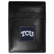 Texas Christian Horned Frogs Leather Money Clip/Cardholder in Gift Box