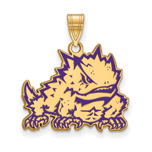 Texas Christian Horned Frogs Sterling Silver Gold Plated Large Pendant