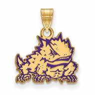Texas Christian Horned Frogs Sterling Silver Gold Plated Small Pendant