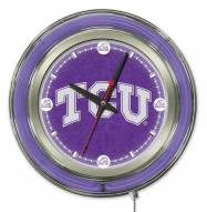 Texas Christian Horned Frogs Neon Clock