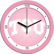 Texas Christian Horned Frogs Pink Wall Clock