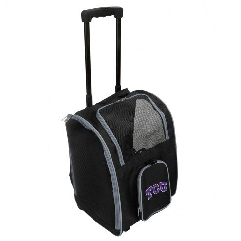 Texas Christian Horned Frogs Premium Pet Carrier with Wheels