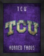 Texas Christian Horned Frogs Retro Logo Map Framed Print