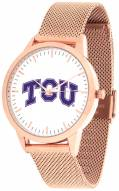 Texas Christian Horned Frogs Rose Mesh Statement Watch