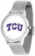 Texas Christian Horned Frogs Silver Mesh Statement Watch