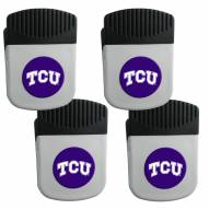 Texas Christian Horned Frogs 4 Pack Chip Clip Magnet with Bottle Opener