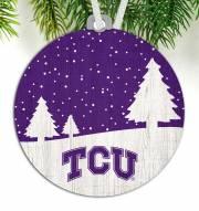Texas Christian Horned Frogs Snow Scene Ornament