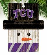 Texas Christian Horned Frogs Snowman Ornament