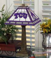 Texas Christian Horned Frogs Stained Glass Mission Table Lamp